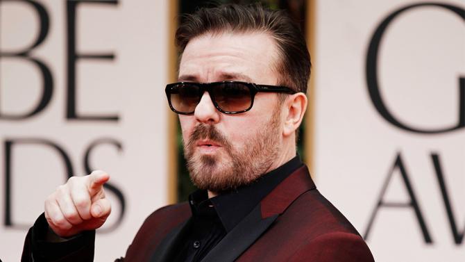 Ricky Gervais arrives at the 69th Annual Golden Globe Awards Sunday, Jan. 15, 2012, in Los Angeles. (AP Photo/Matt Sayles)