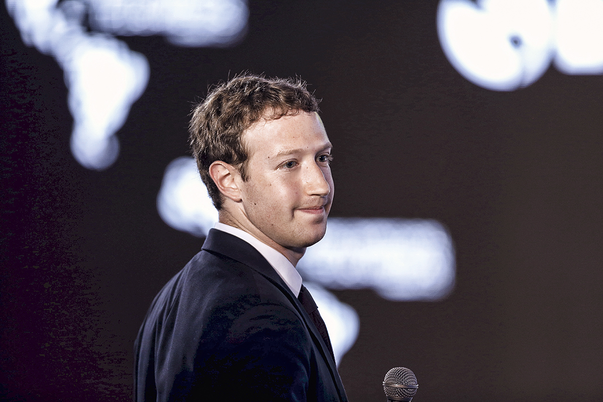 Facebook CEO Zuckerberg asks a question during the II CEO Summit of the Americas on the sidelines of the VII Summit of the Americas in Panama City