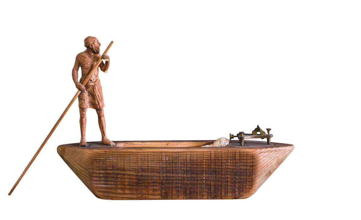 Caronte,-escultura-en-técnica-mixta,-22x41x7cm