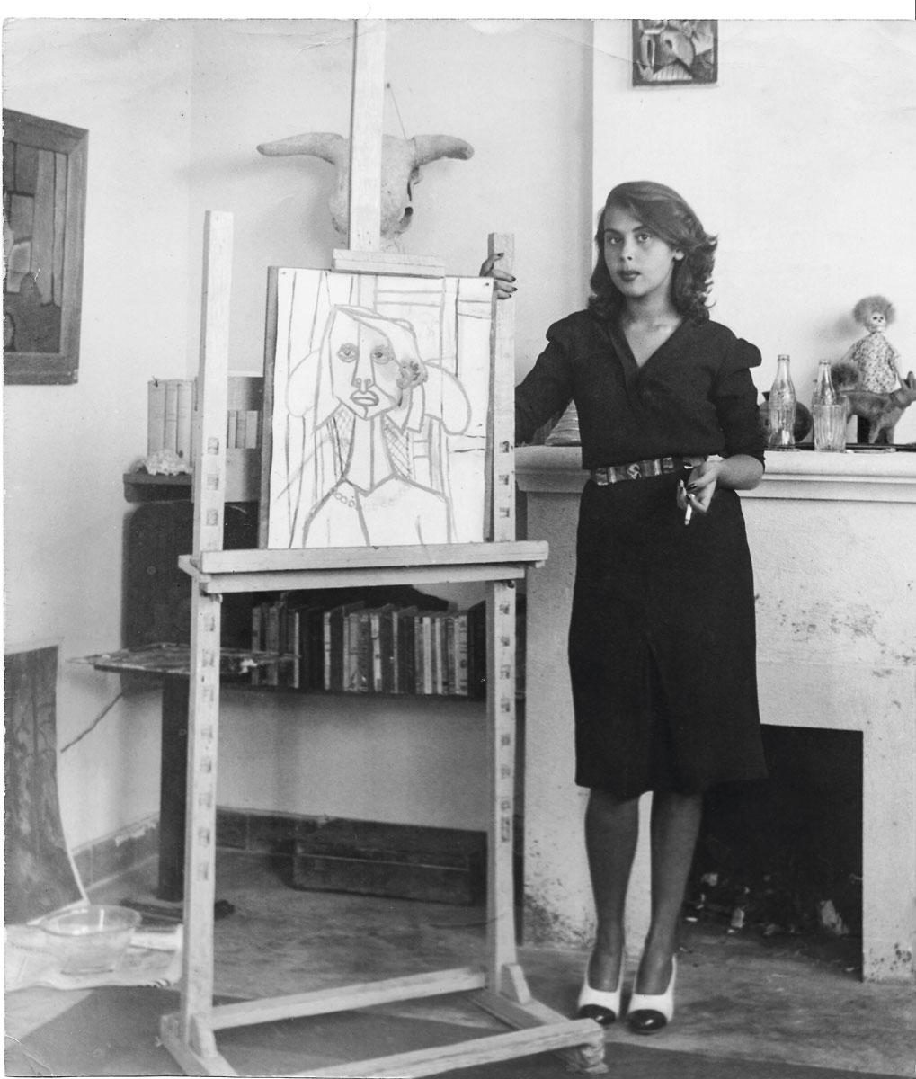 Blanca junto al boceto de su retrato (hoy desaparecido). Una pintura de Fernando de Szyszlo, de mediados de los años cuarenta.