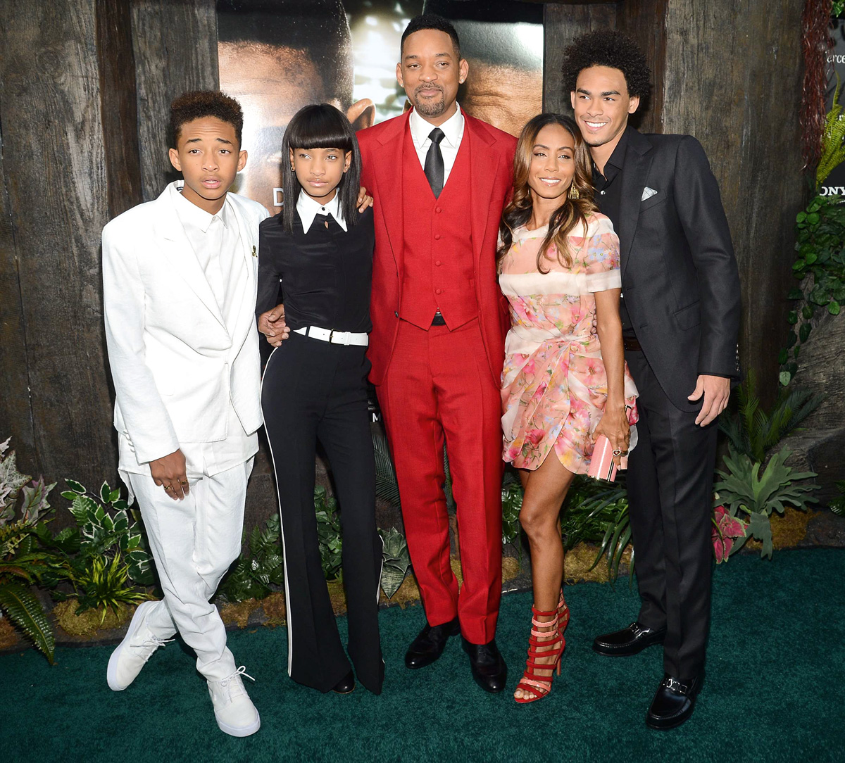 Jaden, Willow, Will, Jada Pinkett y Trey Smith.