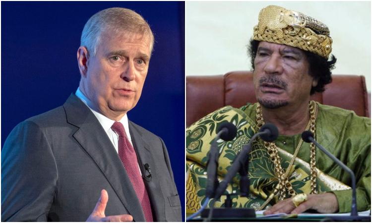 Príncipe Andrew y Muamar el Gadafi