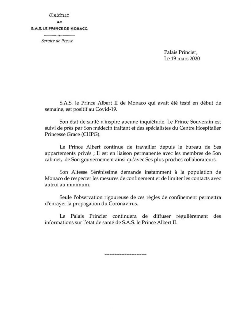 príncipe Albert de Mónaco coronavirus (2)