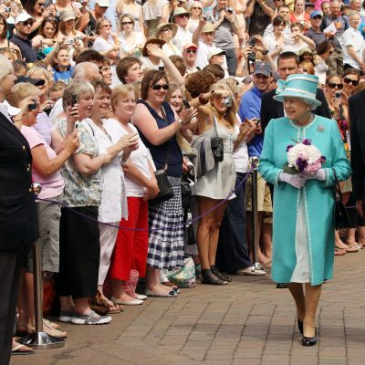 Queen Elizabeth II, escorted by Wimbledon Chairman Tim Phillips CBE, visits the 2010 Wimbledon Lawn Tennis Championships