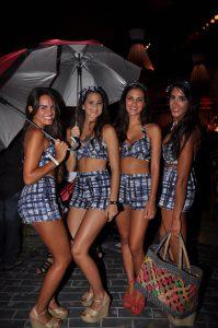Maria Luisa Corrochano, Denisse Dickson, Angie Poletti y Arantza Bentin en fiesta de Playa Blanca, 2012.