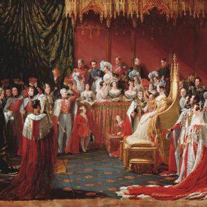 Esta imagen fue pintada en 1839 por Sir George Hayter (1792-1871) y representa la coronación de la reina Victoria en la abadía de Westminster el 28 de junio de 1838