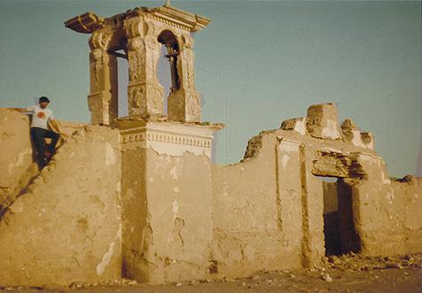 El antiguo campanario, que desapareció con un terremoto.