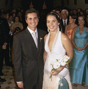 Matrimonio chinchano, 2007. Manuel Ramos Yrigoyen y Mariana Dibós Cillóniz en los jardines de San José