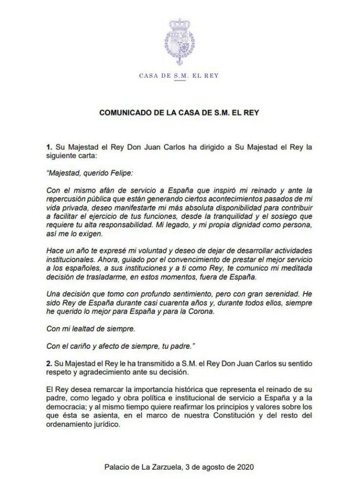 carta Juan Carlos I Felipe VI