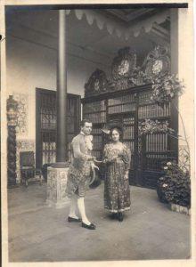 Estampa: Fiesta de Carnaval en el segundo patio de la casa, Mariano Ignacio Prado y su esposa.