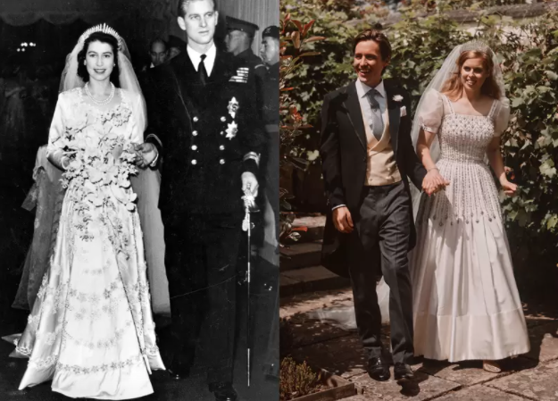 Vestidos de novia: La reina y la princesa Beatriz