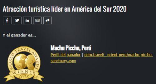 Machu Picchu World Travel Awards 2020 1