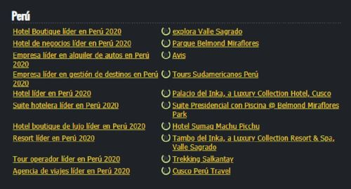 Machu Picchu World Travel Awards 2020 2