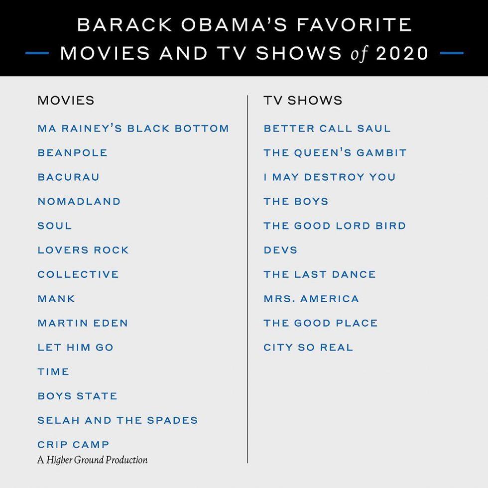 Barack Obama películas, series y libros favoritos del 2020 2