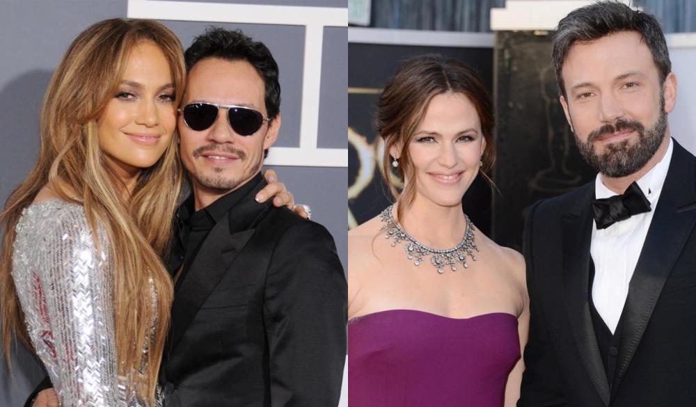 Jennifer Lopez con Marc Anthony - Ben Affleck en con Jennifer Garner