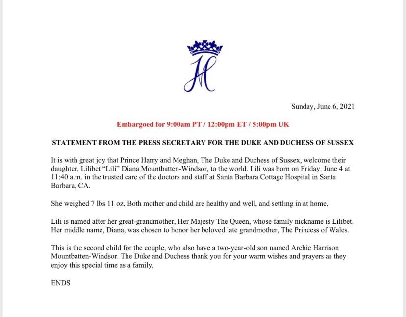 comunicado de prensa del secretario de los duques de Sussex